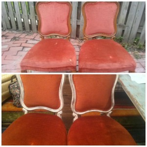 Chalk paint updates a pair of french chairs. Cost: $12/pair